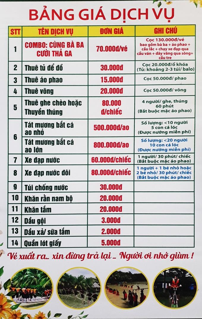 Bảng giá vé và dịch vụ tại khu du lịch Lan Vương Bến Tre