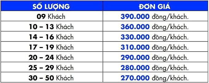Bảng giá combo trọn gói tại Lan Vương Bến Tre