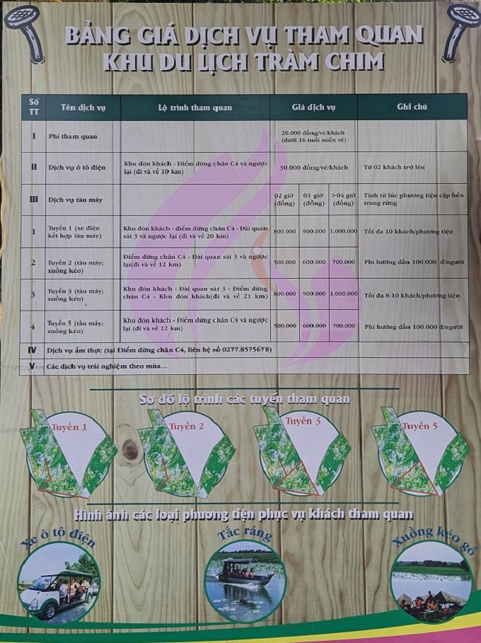 Giá vé cổng và tham quan khu du lịch Tràm Chim