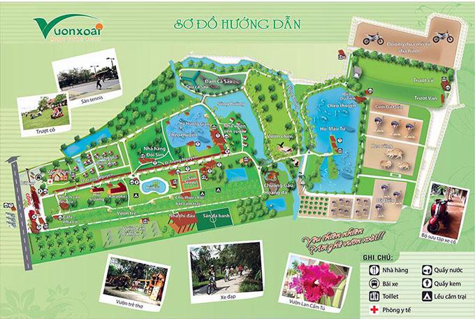 Sơ đồ khu du lịch Vườn Xoài hiện tại ở số 537 đường Đinh Quang Ân, khu phố Tân Cang, phường Phước Tân, thành phố Biên Hòa, tỉnh Đồng Nai