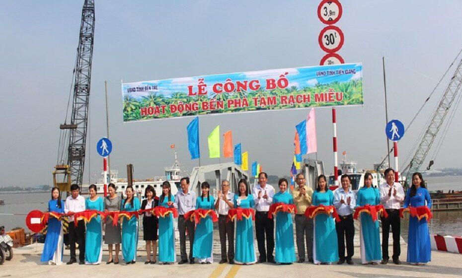 Bến Phà Tạm Rạch Miễu chính thức hoạt động ngày 27.01.2021