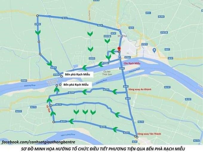 Sơ đồ minh họa đường đi và phân luồng giao thông tại Bến Phà Rạch Miễu tạm