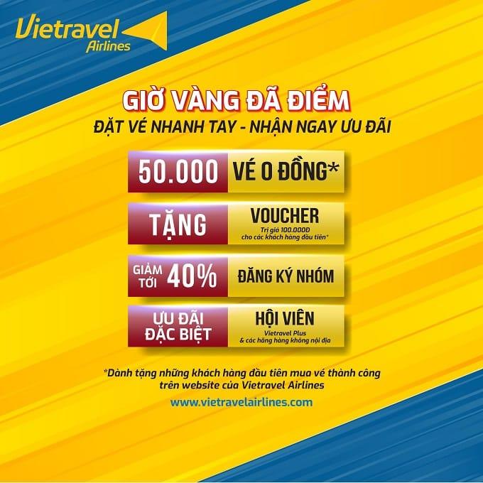 Vietravel Airlines mở bán 50.000 vé 0 đồng