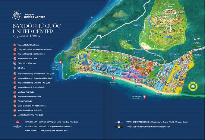 Bản đồ Phú Quốc United Center - Dự án có tổng vốn đầu tư hơn 66.000 tỉ đồng