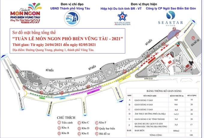 Sơ đồ bố trí các gian hàng và các chương trình tại Tuần lễ món ngon phố biển Vũng Tàu 2021