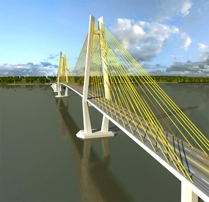 Mô hình cầu Rạch Miễu 2 nối liền hai tỉnh Bến Tre - Tiền Giang
