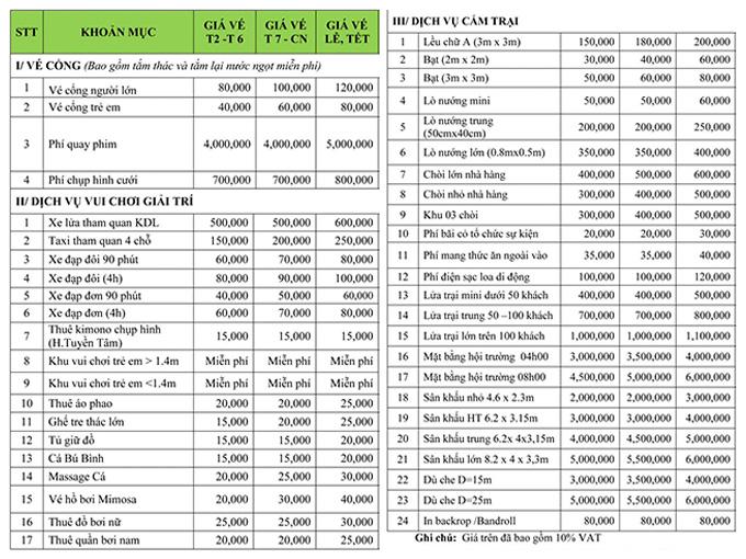 Giá vé tham quan và dịch vụ tại KDL Thác Giang Điền - Đồng Nai