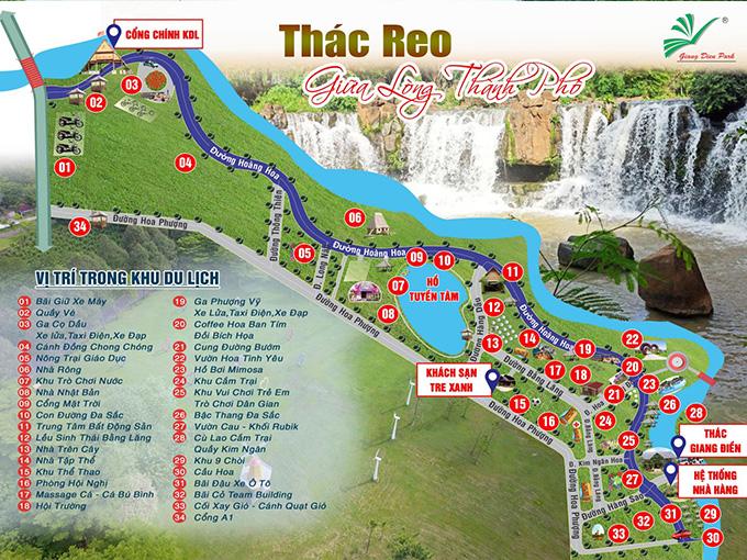 Sơ đồ Khu du lịch sinh thái Thác Giang Điền - Đồng Nai